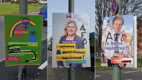 Wahlplakate mit AFD-Besprühungen