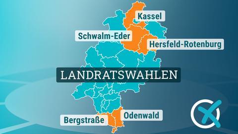 Hessenkarte mit Landkreisen