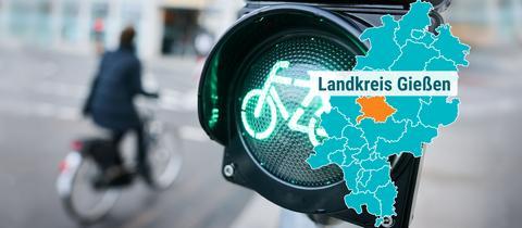 Fahrradfahrer auf Straße, Fahrradfahrerampel zeigt grün