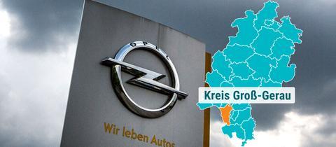 Opel Außenwerbung mit Gewitterwolken
