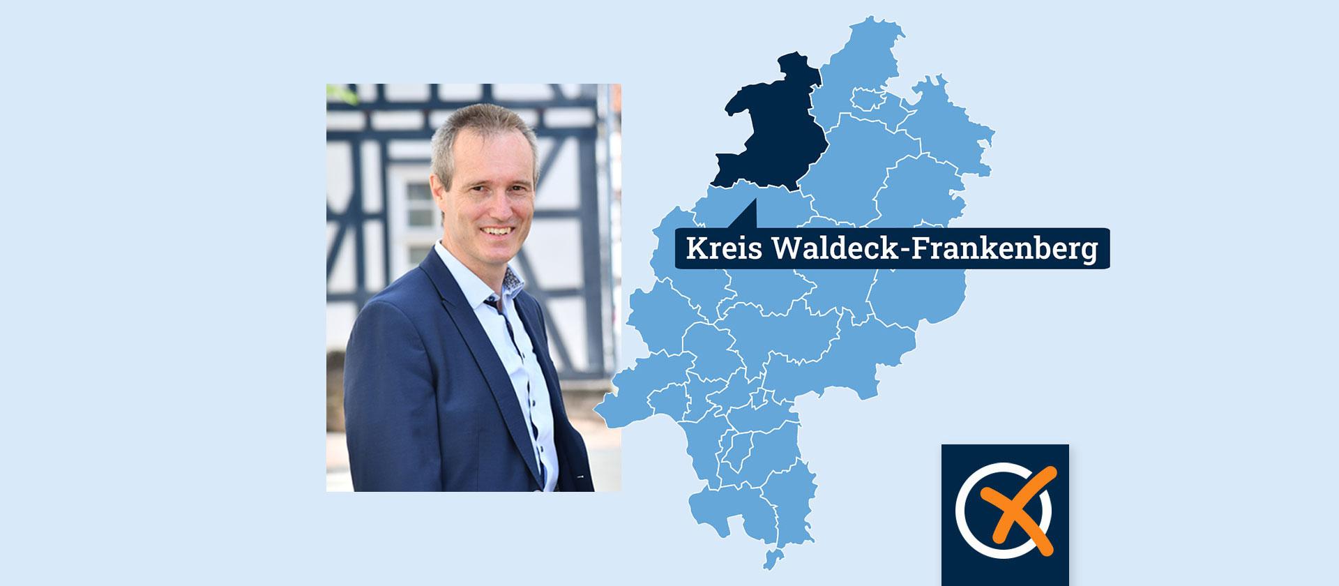 Portrait von Kandidat Van der Horst neben einer Hessenkarte mit Lokaliserung des Landkreises Waldeck-Frankenberg.