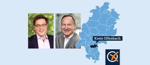 Portraits der Kandidat Müller und Quilling neben einer Hessenkarte mit Lokaliserung des Landkreises Offenbach.