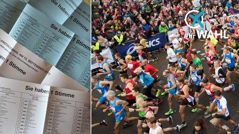 Collage: Stimmzettel und Läufer beim Marathon