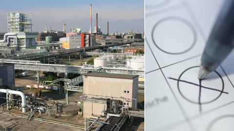 Bildcollage: Industriepark Höchst und Wahlkreuz