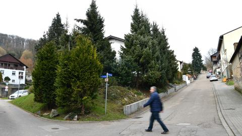 Ein Mann geht über eine Straße, die die Landesgrenze zwischen Baden-Württemberg und Hessen markiert.