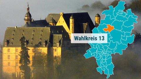 Das Schloss in Marburg in der Abendsonne.