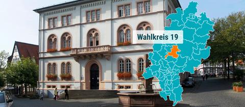Rathaus und Marktbrunnen in Lich.