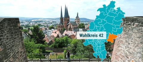 Blick auf Gelnhausen im Kreis Main Kinzig.