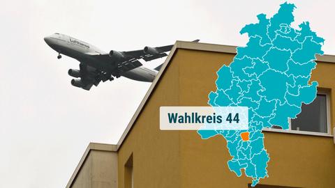 In Neu-Isenburg fliegt eine Jumbo-Jet in niedriger Höhe über ein Wohnhaus.