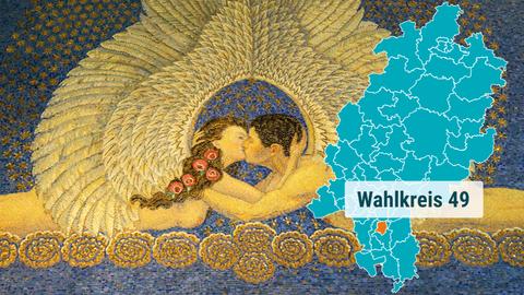 Ein Wandmosaik, dass zwei sich kuessende Menschen zeigt - ein Detail der Jugendstilarchitektur der Mathildenhöhe in Darmstadt.