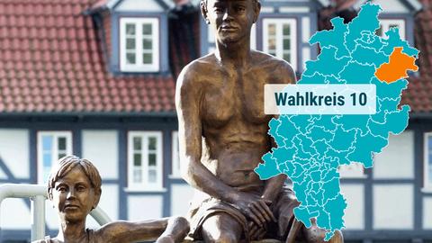 Bronzeskulptur in Rotenburg an einer Brücke über der Fulda.