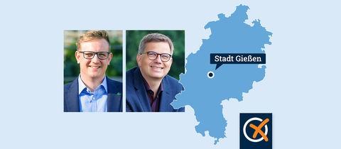 Portrait der Kandidaten Becher und Wright neben einer Hessenkarte mit Ortspunkt der Stadt Gießen.