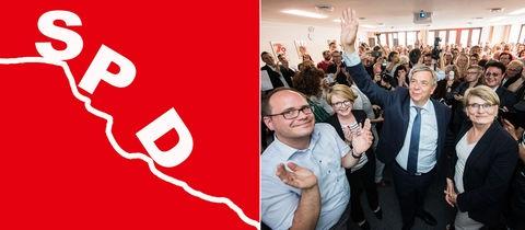 Kippendes SPD-Logo und OB-Wahlgewinner Mende