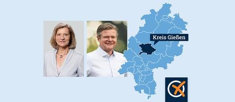 Peter Neidel (CDU) und die Gießener Landrätin Antia Schneider (SPD) im Portrait neben einer Karte, in welcher der Landkreis Gießen eingezeichnet ist.