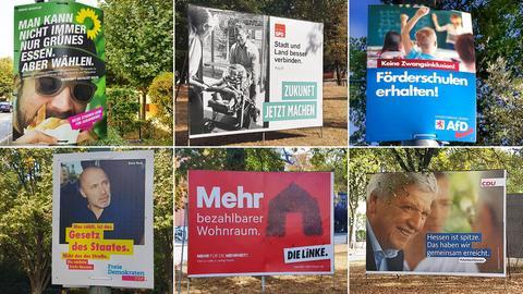 Bildcollage aus Plakaten zur Landtagswahl Hessen 2018