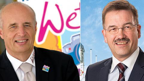 Der Alte und der Neue Wetzlarer OB: Wolfram Dette (FDP, l.) und Manfred Wagner (SPD)