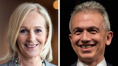 Die Kandidaten der OB-Stichwahl: Bernadette Weyland (CDU) und Amtsinhaber Peter Feldmann (SPD)