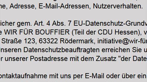 """""""Teil der CDU Hessen"""" - Datenschutzerklärung der Internetseite der Initiative."""