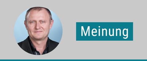 """Portrait von Andreas Bauer. Daneben steht """"Meinung""""."""