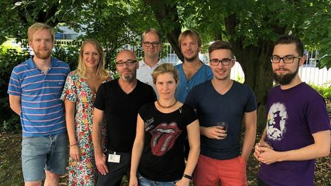 Das hr-Datenteam im Mai 2018: Karsten Hufer, Juli Rutsch, Peter Gerbig, Jan Eggers, Angie Herzog, Jörn Ratering, Miguel Pascual Sanina, Till Hafermann