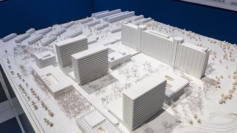 Zu sehen ist das Modell, das den Wettbewerb zum Neubau der Bundesbank gewonnen hat.