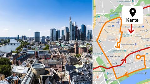 Es ist ein Foto von Frankfurt zu sehen wie auch eine Karte der Innenstadt, die den Verlauf der Demos darstellt.