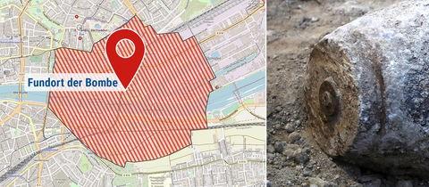 Die Bildkombination zeigt eine Karte mit dem Evakuierungsgebiet und ein Symbolfoto einer Bombe.
