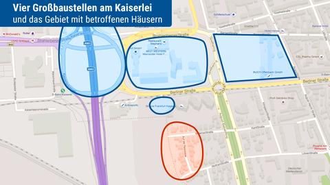 Die Karte zeigt die Baustellen rund um den Kaierlei-Kreisel und das von Gebäuderissen betroffene Gebiet.