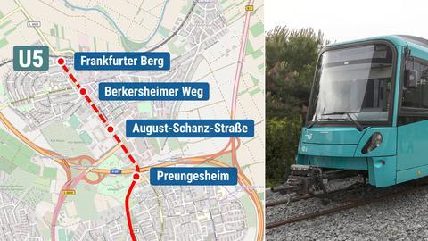 Die Bildkombination zeigt eine U-Bahn der VGF und die geplante Streckenverlängerung zum Frankfurter Berg.
