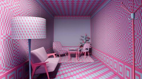 Ros-hellblau gestalteter Raum
