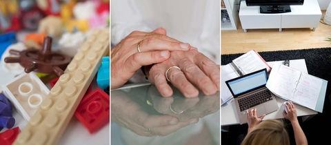 Eine Bildkombination aus drei Fotos: Nahaufnahme Lego-Spielzeug, Hände in Großaufnahme, Homeoffice (Laptop, Ordner, arbeitende Person am Wohnzimmertisch)