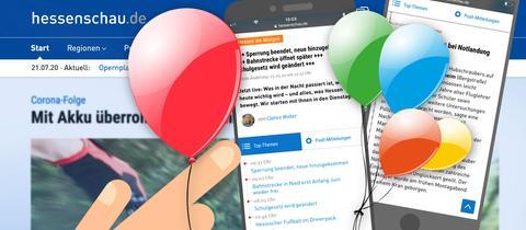 Screenshots von hessenschau.de mit Luftballons