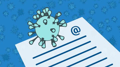 Die Grafik zeigt ein stilisiertes Blatt Papier mit einem @-Zeichen, auf dem ein stilisiertes Coronavirus liegt.