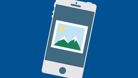 Smartphone mit angedeutetem Foto auf Display