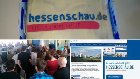 Kuchen und Kollegen im Newsroom zum Start von hessenschau.de