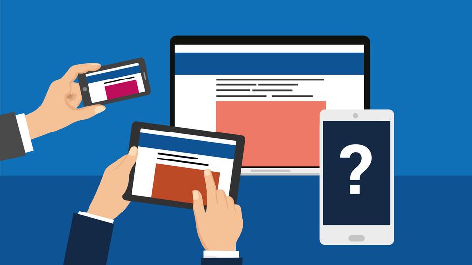 """Grafik mit vielen Händen, welche die Geräte Smartphone, Tablet und Co. halten, sowie einem Laptop. Auf einem Smartphone ist ein """"?"""" zu sehen."""