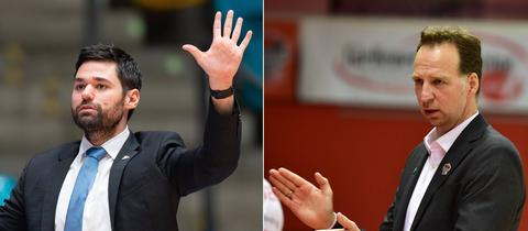 Links: Skyliners-Coach Sebastian Gleim. Rechts: 46ers-Coach Ingo Freyer