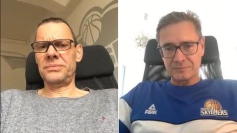 """Michael Koch und Gunnar Wöbke beim """"Zoom""""-Gespräch (einer Videokonferenz) vor dem Bildschirm."""