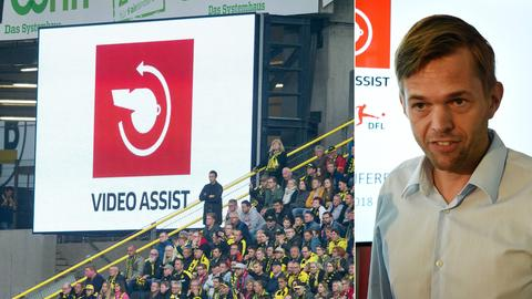 Collage: Drees, Fußball-Leinwand