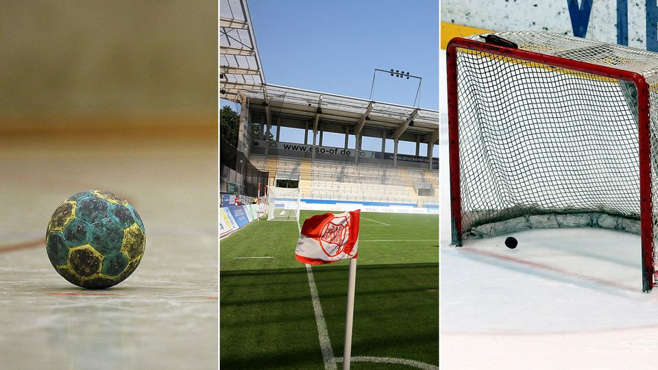 Collage: Handball, Eckfahne, Eishockey-Tor