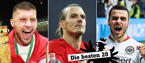 Drei Portraits der Spieler Rebic, Meier und Kostic.
