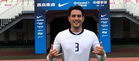 Aaron Krüger im Tianhe-Stadion im chinesischen Guangzhou.