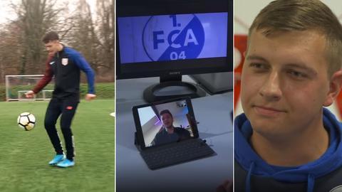 Collage: Fußballer, Skype-Interview, Luca Bergemann