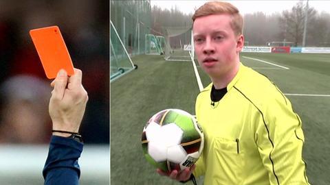 Collage: Rote Karte, Schiedsrichter Simon Henninger