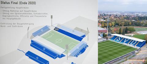 Collage: Altes Stadion am Böllenfalltor und Skizze des umgebauten Stadions