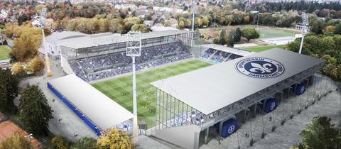 Eine Computer-Animation zeigt das geplante neue Stadion von Darmstadt 98