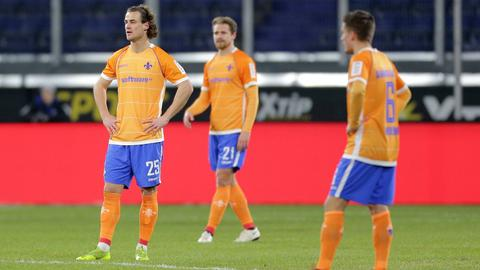 Yannick Stark, Immanuel Höhn und Marvin Mehlem vom SV Darmstadt.
