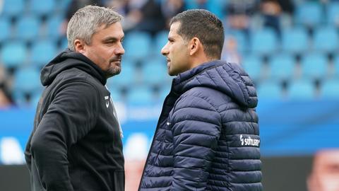Lilien-Trainer Dimitrios Grammozis und VfL-Bochum-Trainer Thomas Reis