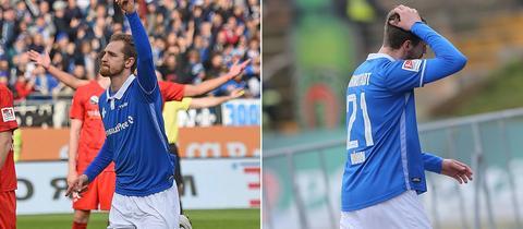 Links: Immanuel Höhn jubelt. Rechts: Immanuel Höhn verlässt geknickt das Feld.
