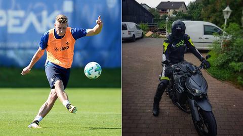 Collage: Platte beim Training und auf dem Motorrad